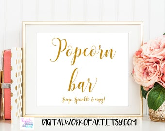 Popcorn Bar Sign,Popcorn Table Sign Printable, Popcorn Treat Bag, Wedding Sign,Popcorn Favor,Party Dessert, instant download printable,#SG