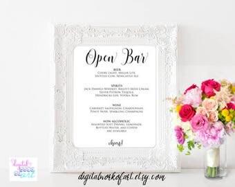 Open Bar Menu Sign Template, DIY Wedding Bar Menu Printable Sign, Drinks Menu, Wedding Menu Sign, Open Bar Menu Sign, PDF Instant Download