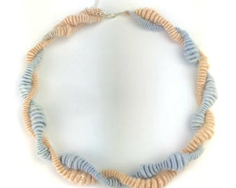 Unique hand made art yarn necklace hand spun botanically dyed bamboo vegan sterling silver findings for knitters crocheters UK