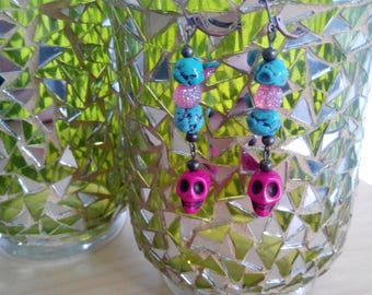 Bright Pink and Turquoise Stone and Skull Dangle Earrings