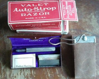 Vintage Complete Valet Auto Strop Razor Model C Set, Vintage Razor With Razor Blade And Strop, Razor With Original Case And Box