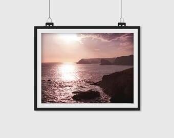 Sunset Print, Sunset Photo, Coast Print, Coastal Sunset, Cornwall, Sunset Photography, Coastal Photograph, Landscape Print, Water Print