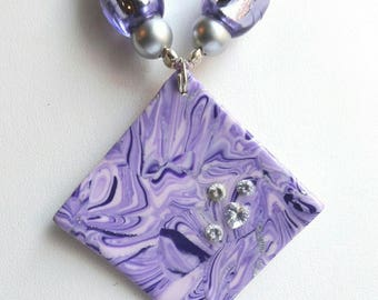 Purple square pendant necklace, Pearl fimo, designer jewelery
