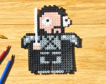 Game of Thrones magnet | Unique Jon Snow fridge magnet | Pixelated Hama Perler design | GoT | Jon is ready to protect your fridge!