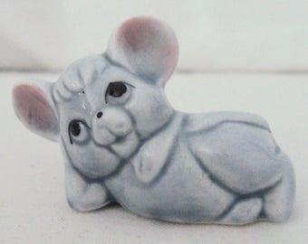 Vintage Miniature Light Gray Bone China Reclining Mouse Figurine
