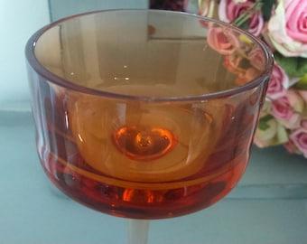 Retro Orange Glass Tea Light Holder/ Vintage Glassware Collectibles 1970's