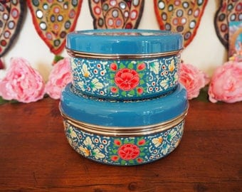 Hand Painted Kashmir Enamelware Gypsy Hippie Shabby Chic Floral Glamping Camping Biscuit, Sweet Tins x 2