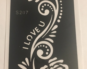 1 Reusable Henna Tattoo Stencil Temporary Tattoo #S207 FREE SHIP !!!