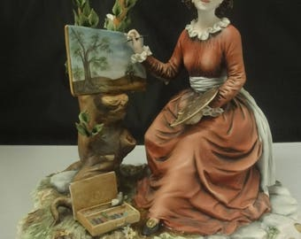 Capo Di Monte Figurine of a Female Artist in wonderful detail        height=22cm