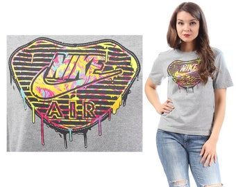 NIKE T Shirt 90s Vintage Regular Fit Grey Rainbow Logo Spell Out  Active Wear Outside Activity Sports Shirt Men Women Unisex Cotton Small