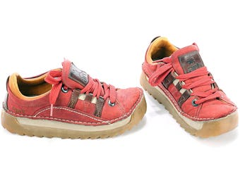 PLATFORM Sneakers 90s Wide Fit Vintage Faded Red Leather Sports Club Chunky Shoes Rugged Sole 1990s Keds Retro Us Women 9.5 , Uk 7 , Eur 40