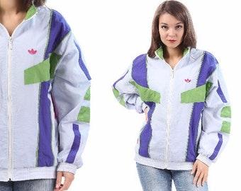Trefoil ADIDAS Windbreaker Track Jacket 80s Workout White Zip Up Old School Trefoil Purple Green Hip Hop Men Women Athletic Sports Large