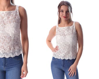 White Lace Top 70s Sheer Crop Blouse CROPPED Shirt Cream White Sleeveless Scalloped Fitted Vintage Floral Summer Top See Trough sz Small