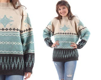 Vintage AZTEC Sweater 70s Wool Blend Pullover White Blue Winter Ski Sweater Women Men Knitwear Geo Print Tribal Unisex Large