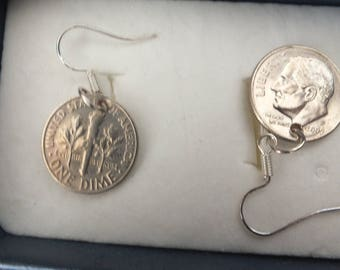 American dime wire earrings