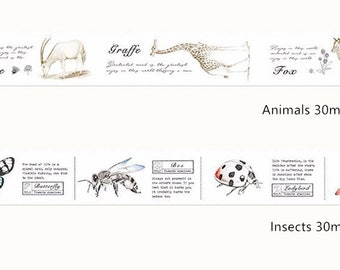 Animals & Insects Washi Tapes - Planner, Journal, Craft, Scrapbooking, Decoration