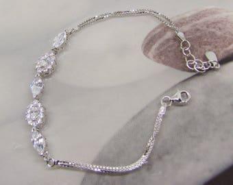 Bracelet women's silver and CZ