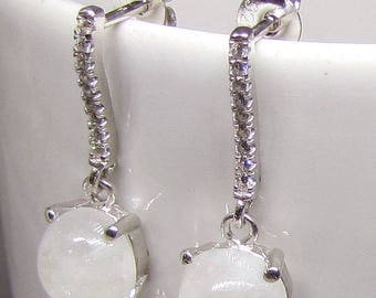 Earrings silver and Moonstone Cabochon round