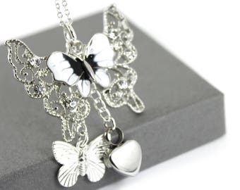 Butterfly Pendant with Urn Necklace , Memorial Jewellery,  Cremation Jewelry, Urn Necklace, Ashes Necklace.