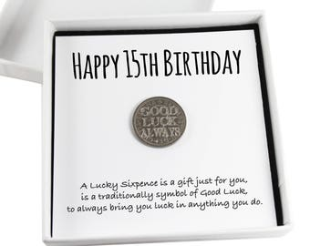 Happy 15th Birthday Lucky Sixpence Keepsake Gift,  Good Luck Present, Lucky Coin