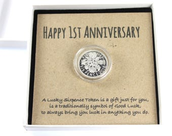 Happy 1st Anniversary Keepsake Gift, Lucky Sixpence Token Keepsake Gift, Good Luck Present, Lucky Coin Token