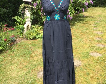 Navy blue Maxi summer dress in 100% cotton, summer holiday dress, hippie style, boho style, bohemian