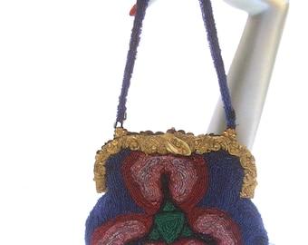Exquisite Glass Hand Beaded Evening Bag c 1930s