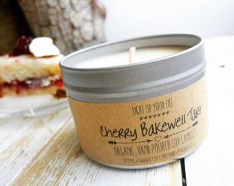 Soy Candle, Cherry Bakewell Tart, Cherry Soy Candle, Bakewell Soy Candle, Cherry Candle, Organic Candle, Vegan Candle, Soy Wax Candle