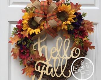 Fall Wreath, Autumn Wreath, Sunflower Wreath, Front Door Wreath, Grapevine Wreath, Yellow Wreath, Orange Wreath, Wreath Street Floral
