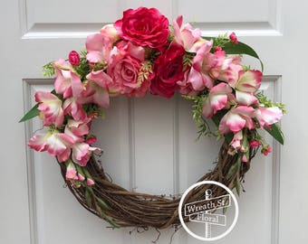 Spring Wreath, Pink Wreath, Rose Wreath, Grapevine Wreath, Front Door Wreath, Wreath Street Floral, Summer Wreath,  All Season Wreath