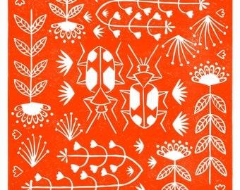Panagaeus Crux Major in orange, limited edition, linocut print