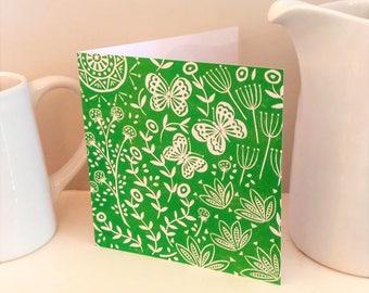 Jessica's Butterflies in green, greetings card, scandinavian folk art