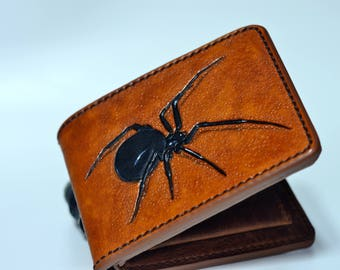 Black widow spider hand tooled mens wallet, brown distressed leather with coin compartment, hand stitched customized billfold, free wrapping
