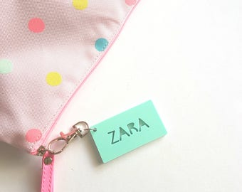 Pastel Colour Bag Tag / Keyring Personalised Custom-school-kinder-school bag personalized-back to school