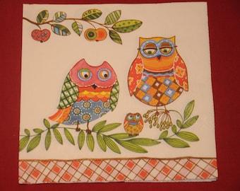 """napkin theme animals """"OWL family"""""""