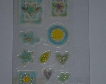 a sheet of gold epoxy stickers