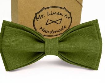 Moss bow tie.green linen bow tie.wedding necktie.olive green necktie.groomsmen necktie.moss green necktie.green pocket square.green tie