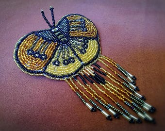 Hand beaded butterfly barrette, beaded barrettes,butterflys