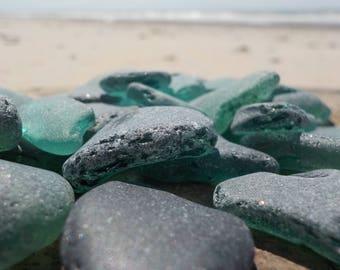 "50 pcs Teal Genuine Sea glass Bulk- Bluish green Shades-Size 0.6-1""-Craft quality-For Mosaic making, Jewelry Art- Glass Home Decor#57B#"