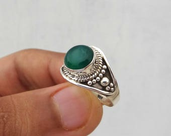 Green Onyx ring,handmade ring, 92.5% sterling silver ring, onyx ring ,handmade ring, 925 solid sterling silver ring,green onyx, women's ring