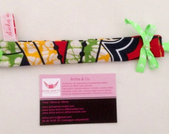 Pacifier red yellow green African fabric