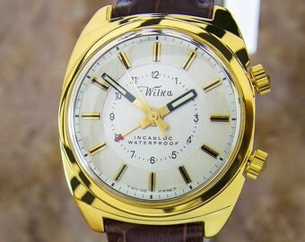 Wilka Collectible Swiss Gold Plated Alarm Mens Manual Dress Watch c1960s L197