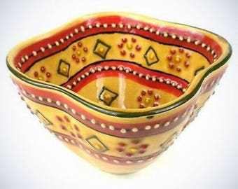 Hand Painted Dip Bowl In Red