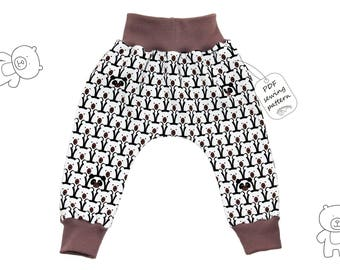 Baby harem pants sewing pattern PDF download, sewng pattern and tutorial