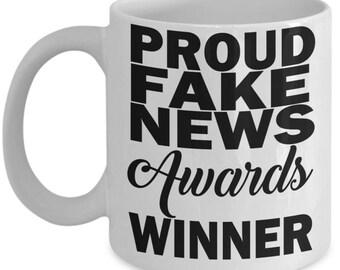 Proud Fake News Awards Winner Coffee Mug Gift Donald Trump Tweet Funny Trophy Coffee Mug Politics Humor Media News