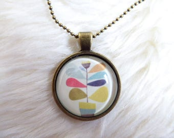 Plant multicolored glass cabochon pendant necklace