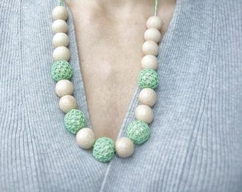 Mint nursing necklace Crocheted teething  Babywearing Breastfeeding New mom gift Baby shower New Wooden beaded necklace Easter sale