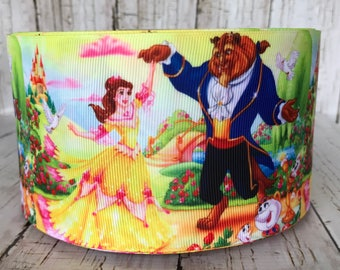 "3"" Beauty And The Beast Belle Inspired Movie TV Cartoon Girls Grosgrain Ribbon  - Sold by 5 Yards"