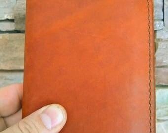 "Leather Moleskine Pocket Cover, Leather Journal Cover, Leather Notebook Cover, Pocket Size Cover, 3.5"" x 5.5"", Carmel Leather"