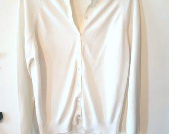 Vintage Cream Cardigan, White Cardigan, Cream top, Vintage clothes